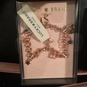 Lucky Brand Rose Gold Charm Bracelet Love Hearts